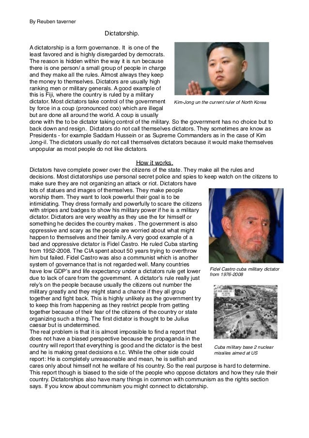 Dictatorship report (by Reuben)