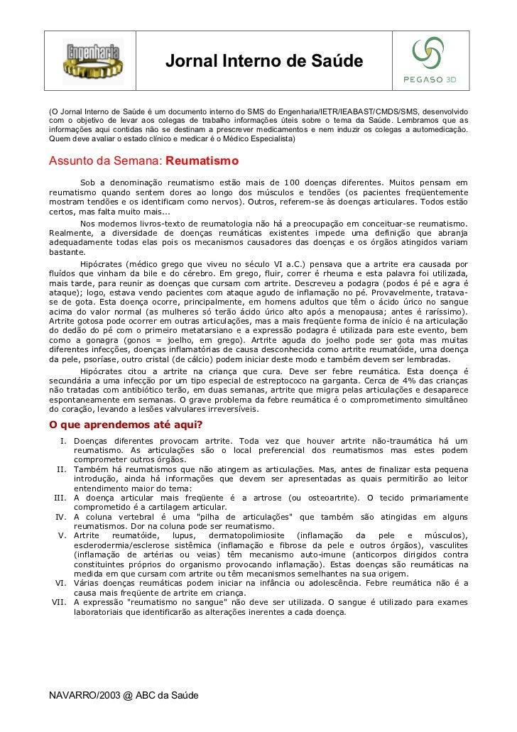 Jornal Interno de Saúde(O Jornal Interno de Saúde é um documento interno do SMS do Engenharia/IETR/IEABAST/CMDS/SMS, desen...