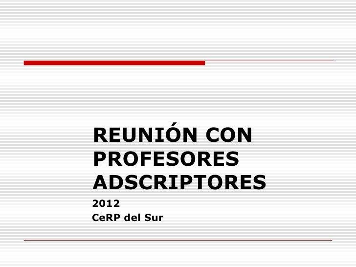 REUNIÓN CONPROFESORESADSCRIPTORES2012CeRP del Sur