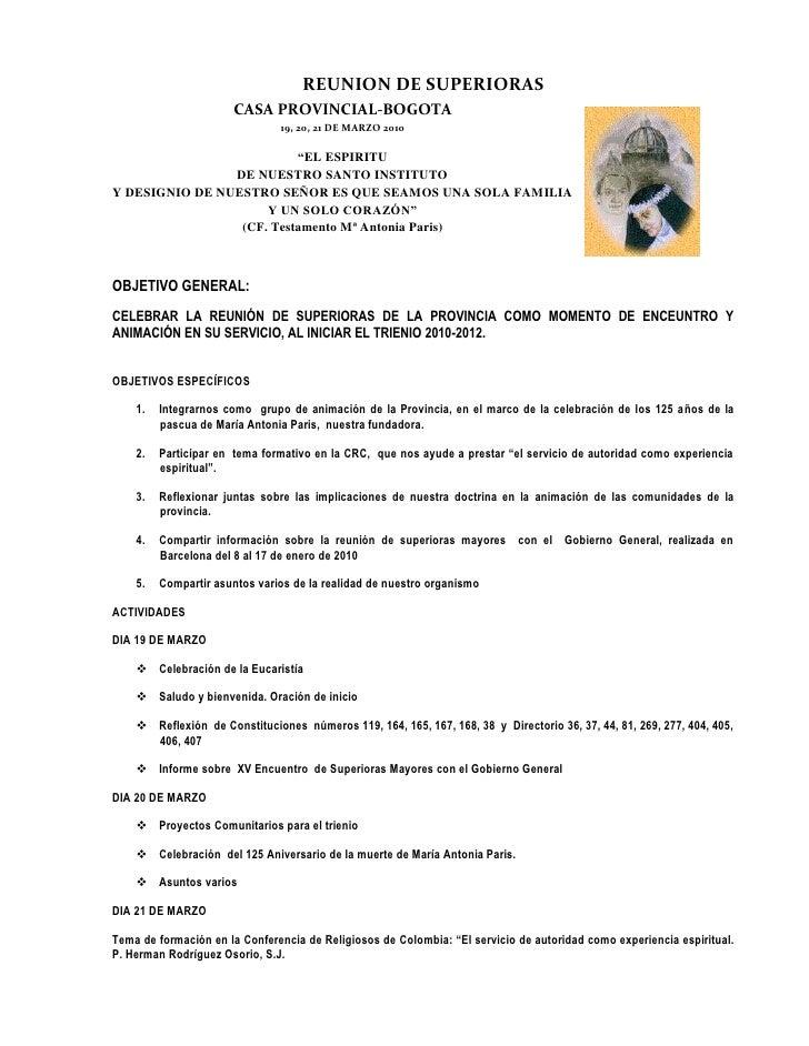 """REUNION DE SUPERIORAS <br />CASA PROVINCIAL-BOGOTA<br />19, 20, 21 DE MARZO 2010  <br />""""EL ESPIRITU <br />DE NUESTRO SANT..."""