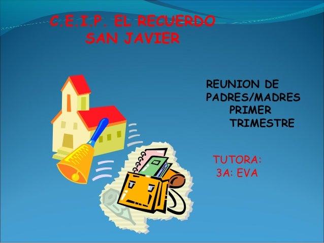 C.E.I.P. EL RECUERDO SAN JAVIER REUNION DE PADRES/MADRES PRIMER TRIMESTRE TUTORA: 3A: EVA