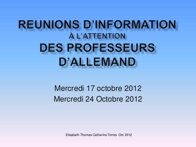 Reunions d'information des IPR d'allemand novembre 2012