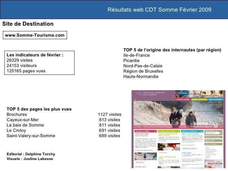 Résultats web CDT Somme Février 2009 Site de Destination www.Somme-Tourisme.com TOP 5 des pages les plus vues Brochures 11...