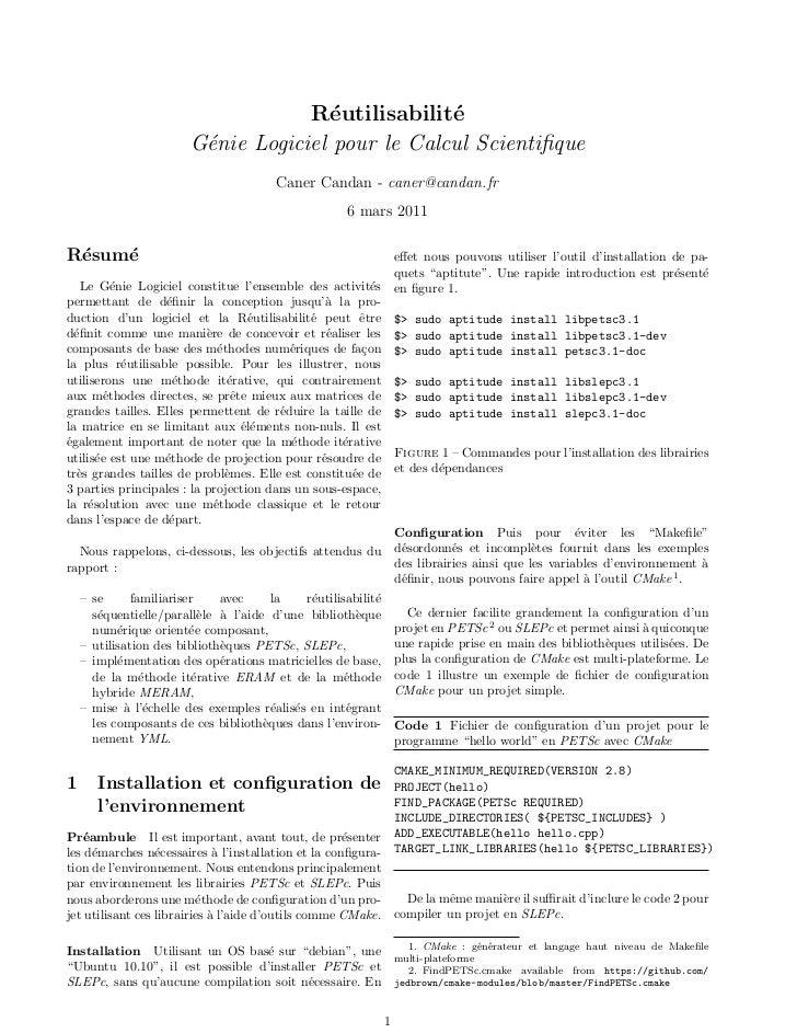 R´utilisabilit´                                      e            e                        G´nie Logiciel pour le Calcul S...