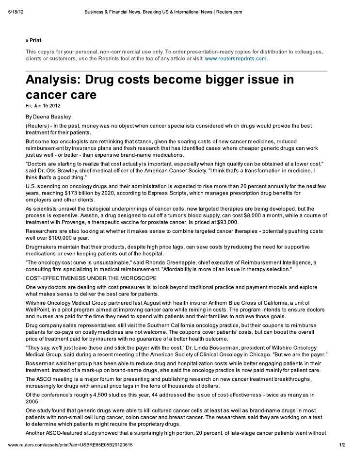 Analysis: Drug Costs Become Bigger Issue In Cancer Care