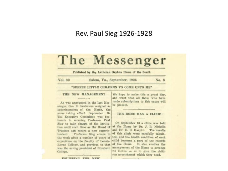 Rev. Paul Sieg 1926-1928