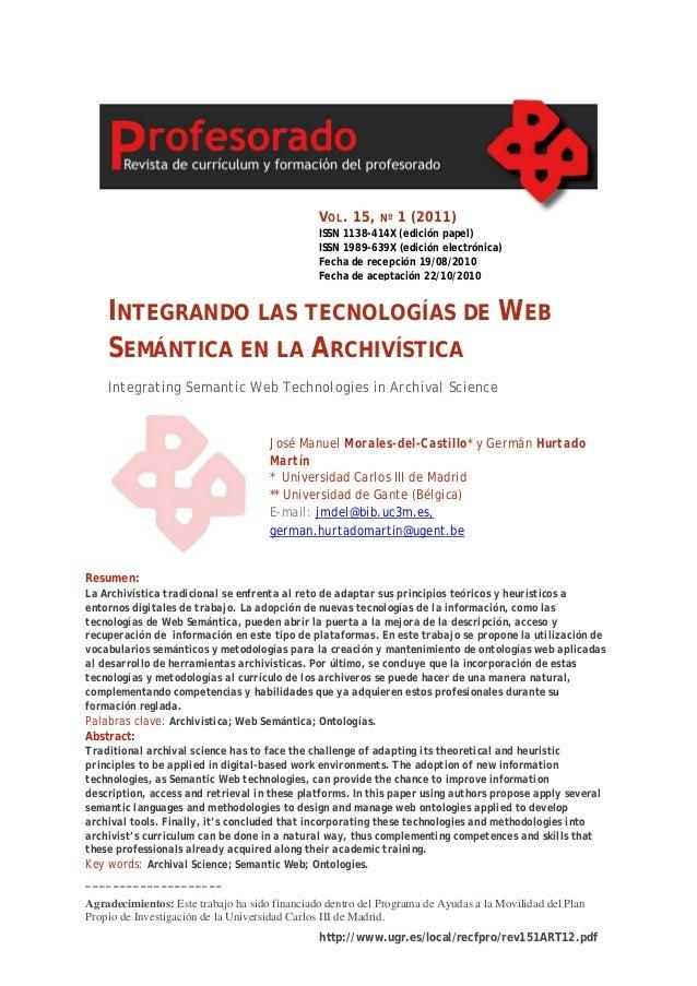 V OL . 15,   Nº   1 (2011)                                               ISSN 1138-414X (edición papel)                   ...