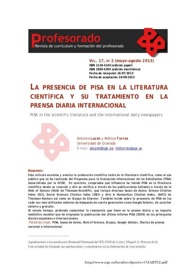 Revista Formación Profesorado . La presencia de PISA en la literatura científica