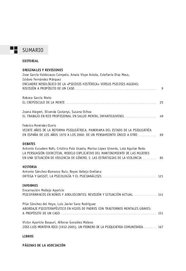 SUMARIO EDITORIAL ORIGINALES Y REVISIONES Jose García-Valdecasas Campelo, Amaia Vispe Astola, Estefanía Díaz Mesa, Isidoro...