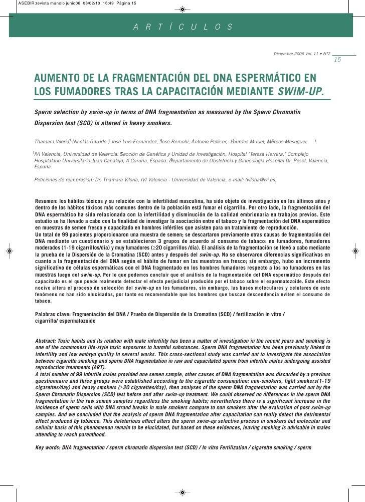 AUMENTO DE LA FRAGMENTACIÓN DEL DNA ESPERMÁTICO EN LOS FUMADORES TRAS LA CAPACITACIÓN MEDIANTE SWIM-UP