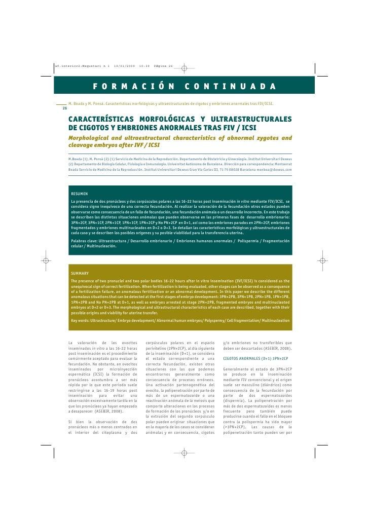 CARACTERÍSTICAS MORFOLÓGICAS Y ULTRAESTRUCTURALES DE CIGOTOS Y EMBRIONES ANORMALES TRAS FIV / ICSI