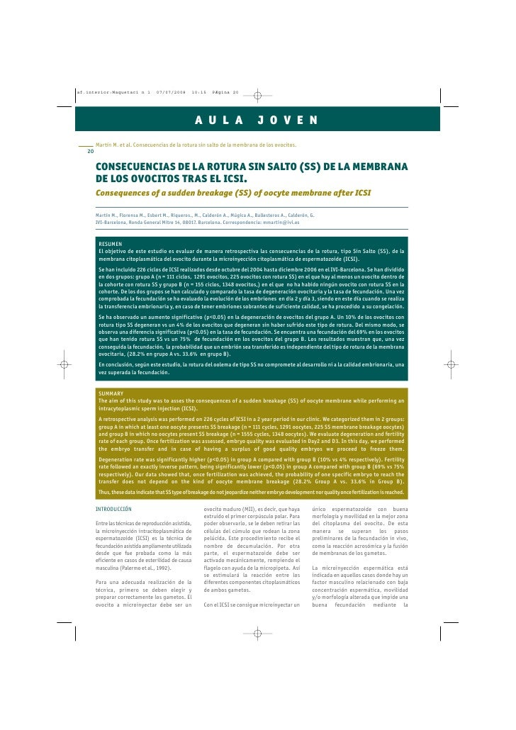 CONSECUENCIAS DE LA ROTURA SIN SALTO (SS) DE LA MEMBRANA DE LOS OVOCITOS TRAS EL ICSI