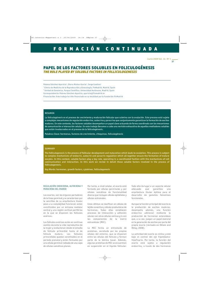 PAPEL DE LOS FACTORES SOLUBLES EN FOLICULOGÉNESIS