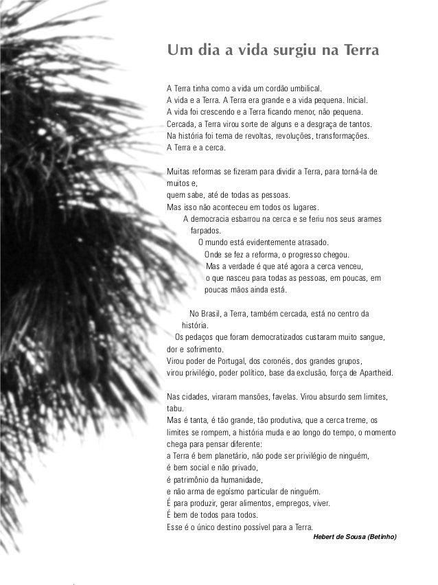 3 educação ambiental de revista brasileira Um dia a vida surgiu na Terra A Terra tinha como a vida um cordão umbilical. A ...