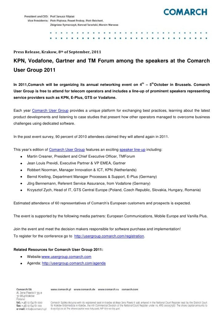 [Press Release] KPN, Vodafone, Gartner and TM Forum among the speakers at the Comarch User Group 2011