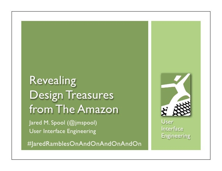 Jared Spool: Revealing Design Treasures from The Amazon