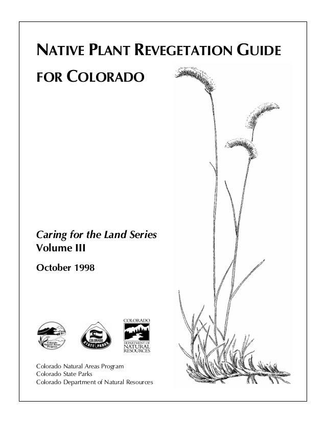 Native Plant Revegetation Guide For Colorado