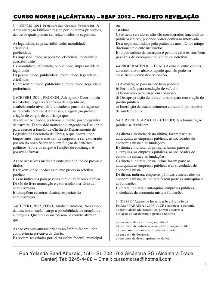 CURSO MORSE (ALCÂNTARA) – SEAP 2012 – PROJETO REVELAÇÃO1 – (CEPERJ_2011_Prefeitura São Gonçalo_Procurador) A        ouAdmi...