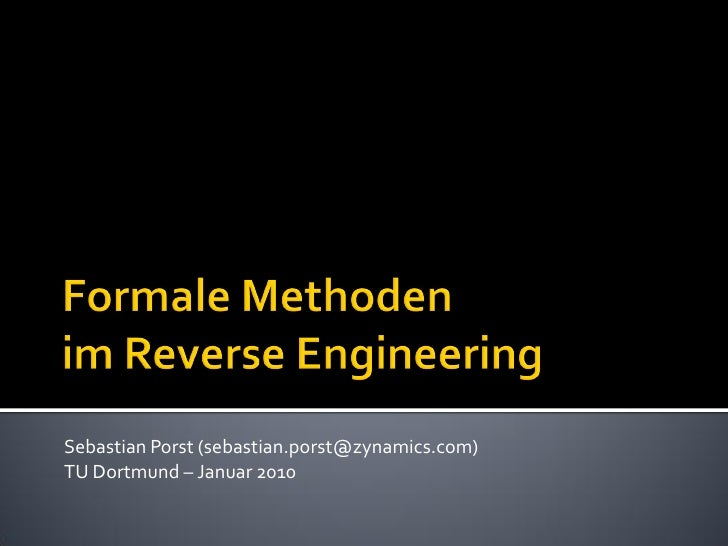 Formale Methoden im Reverse Engineering