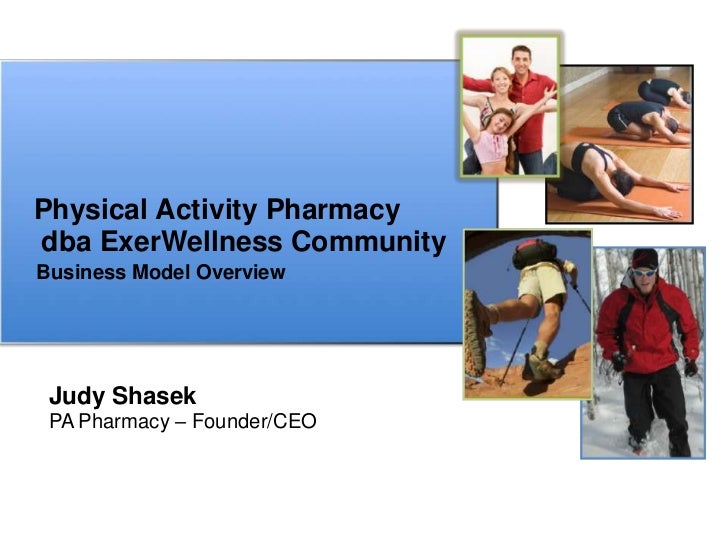 Physical Activity Pharmacydba ExerWellness CommunityBusiness Model Overview Judy Shasek PA Pharmacy – Founder/CEO