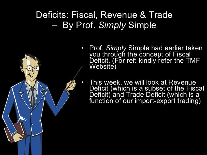 Deficits: Fiscal, Revenue & Trade –  By Prof.  Simply  Simple <ul><li>Prof.  Simply  Simple had earlier taken you through ...