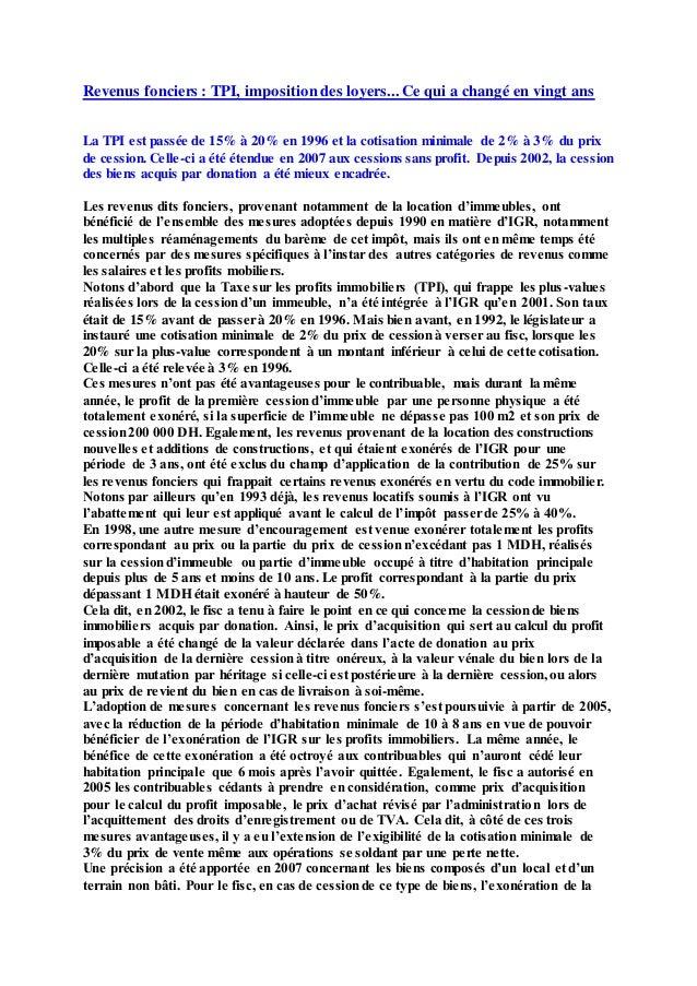 Revenus fonciers tpi imposition des loyers ce qui a chang en vi - Imposition des loyers fictifs ...
