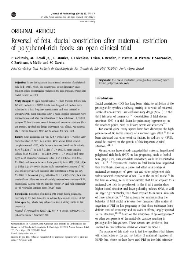 ORIGINAL ARTICLE Reversal of fetal ductal constriction after maternal restriction of polyphenol-rich foods: an open clinic...