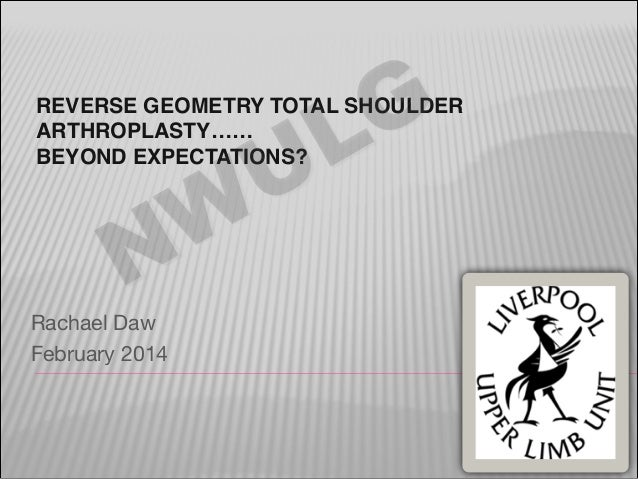 G L U  REVERSE GEOMETRY TOTAL SHOULDER ARTHROPLASTY…… BEYOND EXPECTATIONS?  W N  Rachael Daw   February 2014