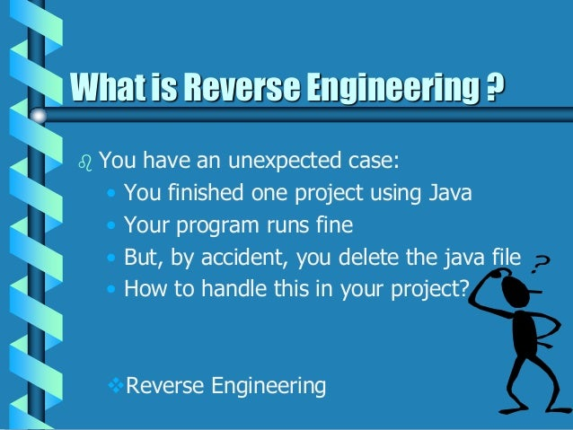 reverse engineering Initiating reverse engineering in visual studio in the visual studio environment, reverse engineering is activated from a command on the project menuinformation from the code model is extracted, visio is launched, and reverse-engineered elements of your code appear as icons in the tree view of the visio uml model explorer.