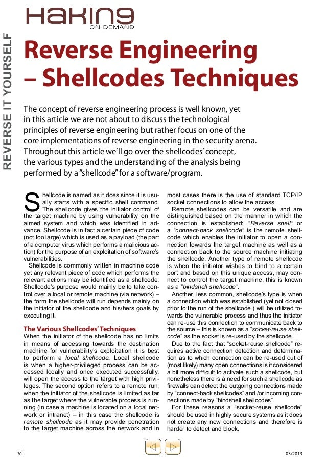 Reverse engineering shellcodes techniques