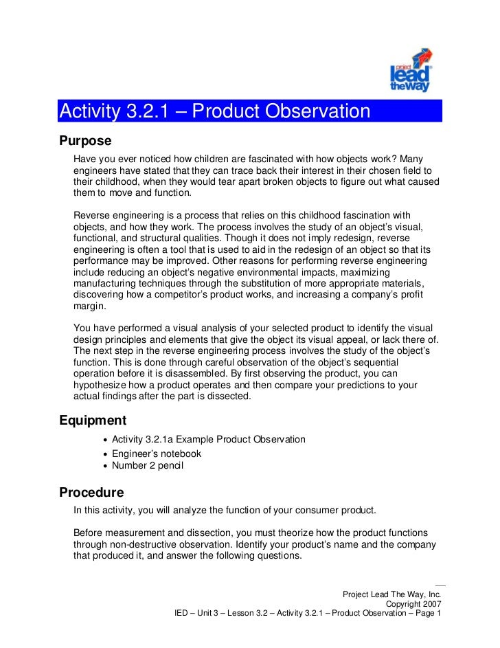 Activity 3.2.1 – Product ObservationPurpose  Have you ever noticed how children are fascinated with how objects work? Many...