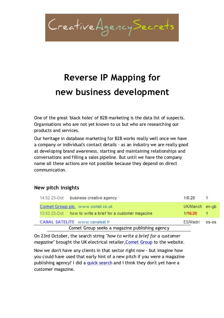 Reverse IP Mapping for                                       new business developmentOne of the great bl...