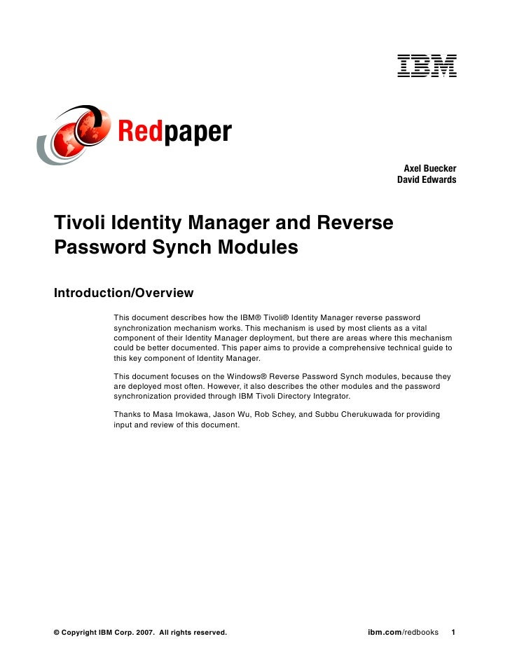 Reverse password synchronization with ibm tivoli identity manager  redp4299