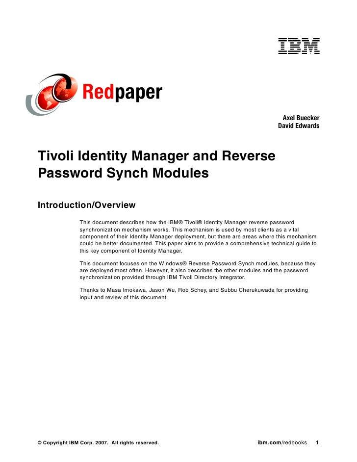 Reverse password synchronization with ibm tivoli identity manager  redp4299