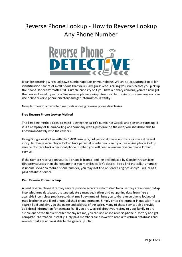 Reverse Phon... Reverse Phone