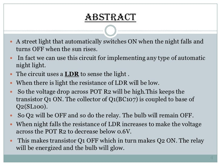 Automatic Street Light Control Using Ldr | Oled | Semiconductors