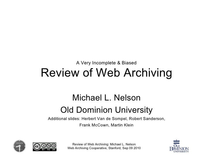 Review of Web Archiving