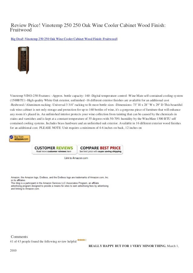 Review price-vinotemp-250-250-oak-wine-cooler-cabinet-wood-finish-fruitwood