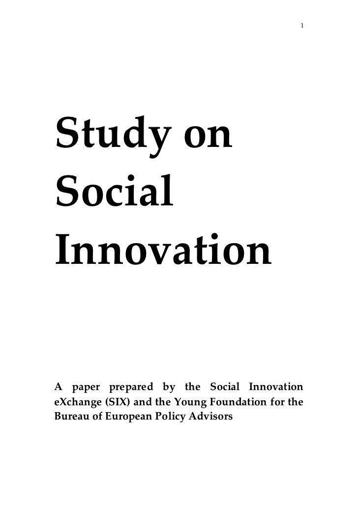 1                                   Study on Social Innovation                          A  paper  pre...