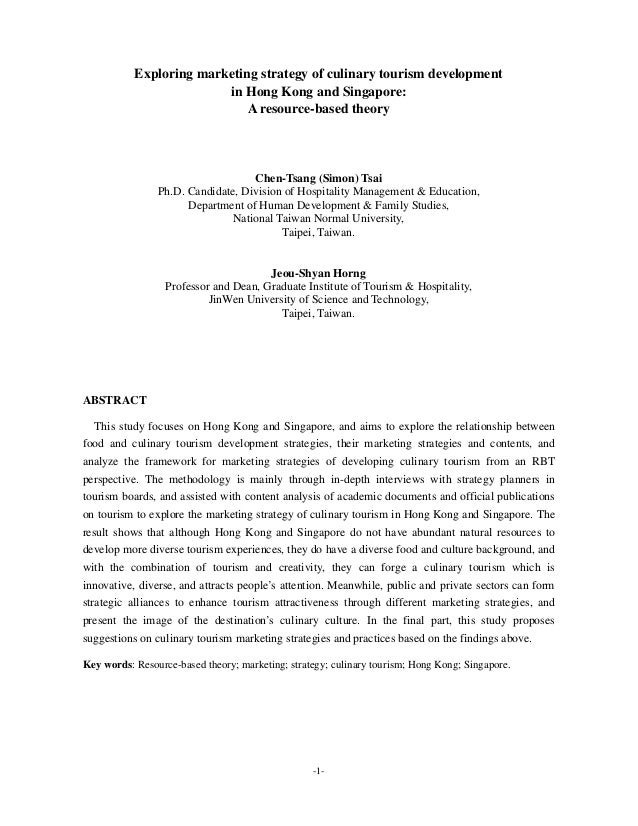 -1- Exploring marketing strategy of culinary tourism development in Hong Kong and Singapore: A resource-based theory Chen-...