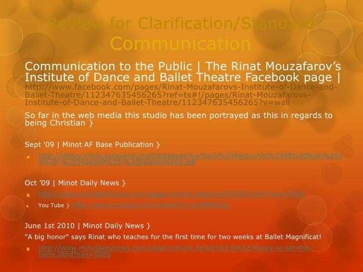 Review for Clarification/StandardCommunication<br />Communication to the Public | The Rinat Mouzafarov's Institute of Danc...