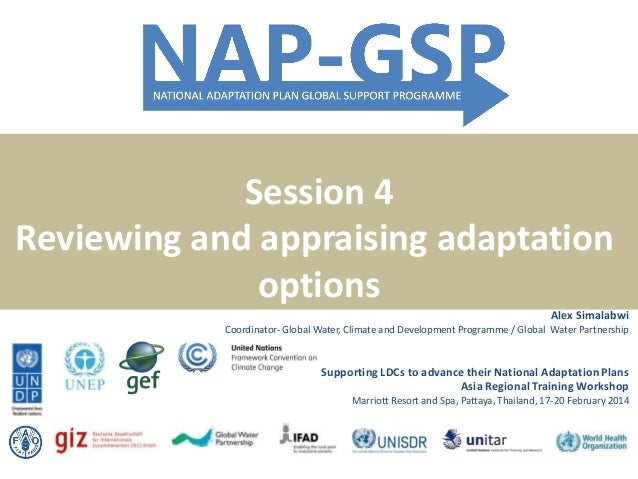 Session 4 Reviewing and appraising adaptation options Alex Simalabwi Coordinator- Global Water, Climate and Development Pr...
