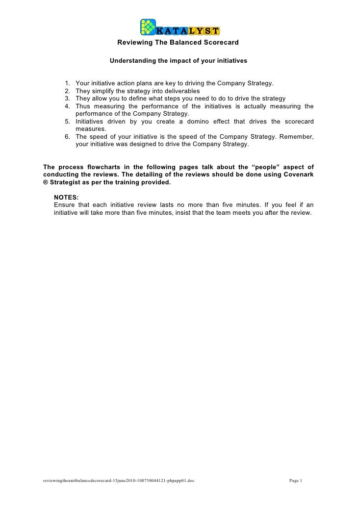 KATALYST                                   Reviewing The Balanced Scorecard                                Understanding t...