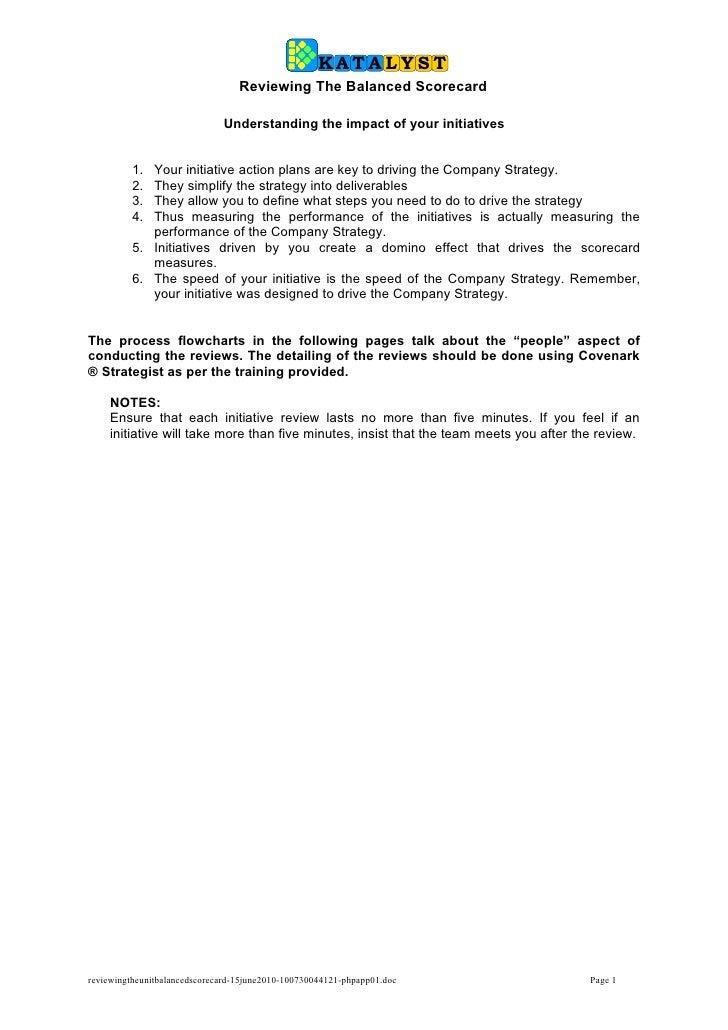 Reviewing the unit balanced scorecard 15 june2010