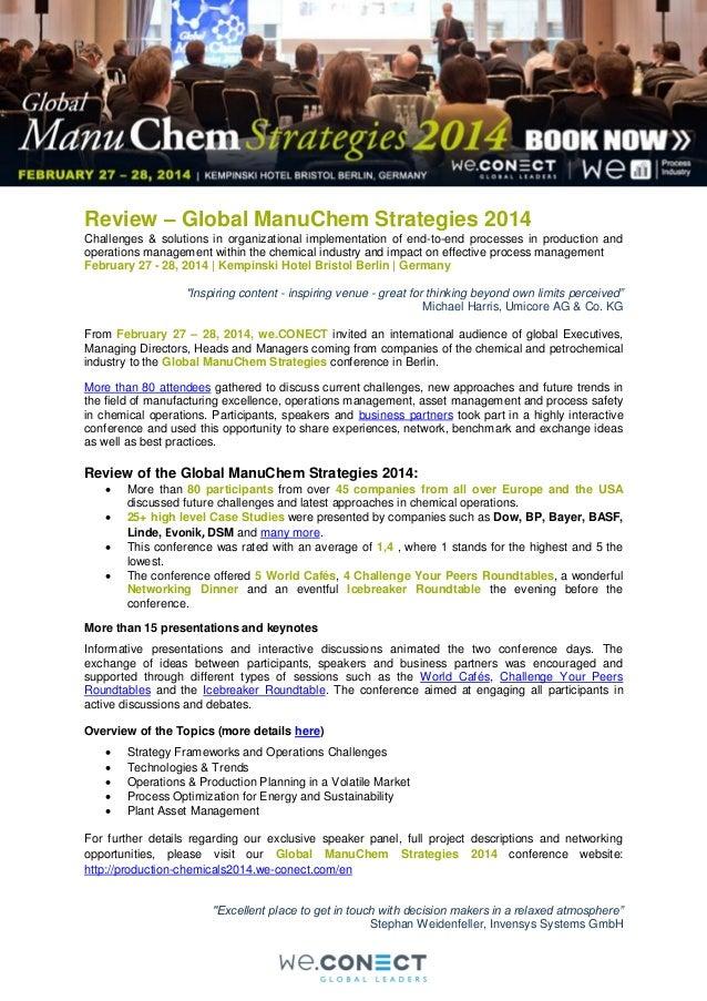 Review Global ManuChem Strategies 2014