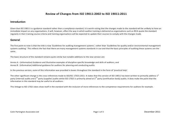 Revision de los cambios -changes-ISO 19011