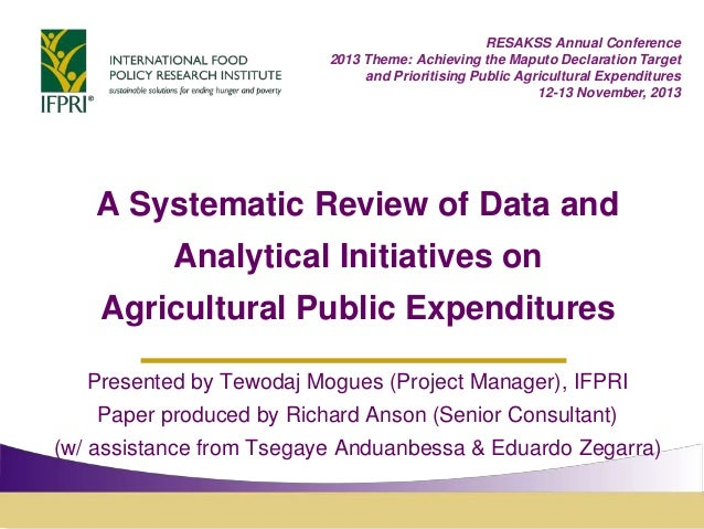 Review of data initiatives - Presented by Tewodaj Mogues (Project Manager), IFPRI