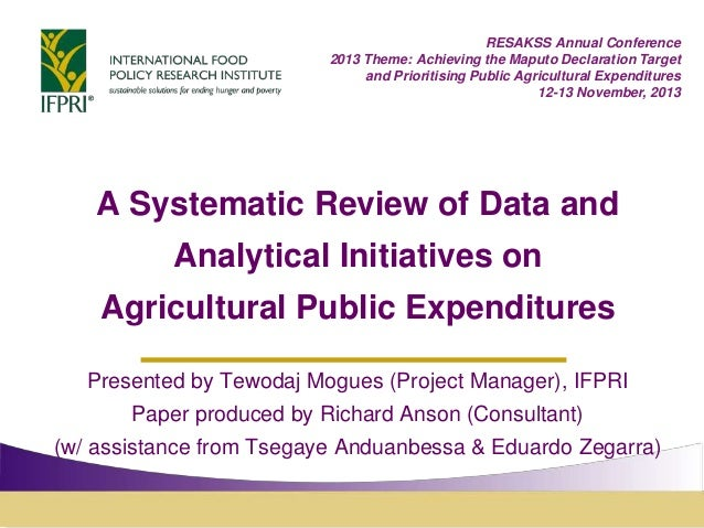 Review of Initiatives to Assemble Data on Agricultural Public Expenditures