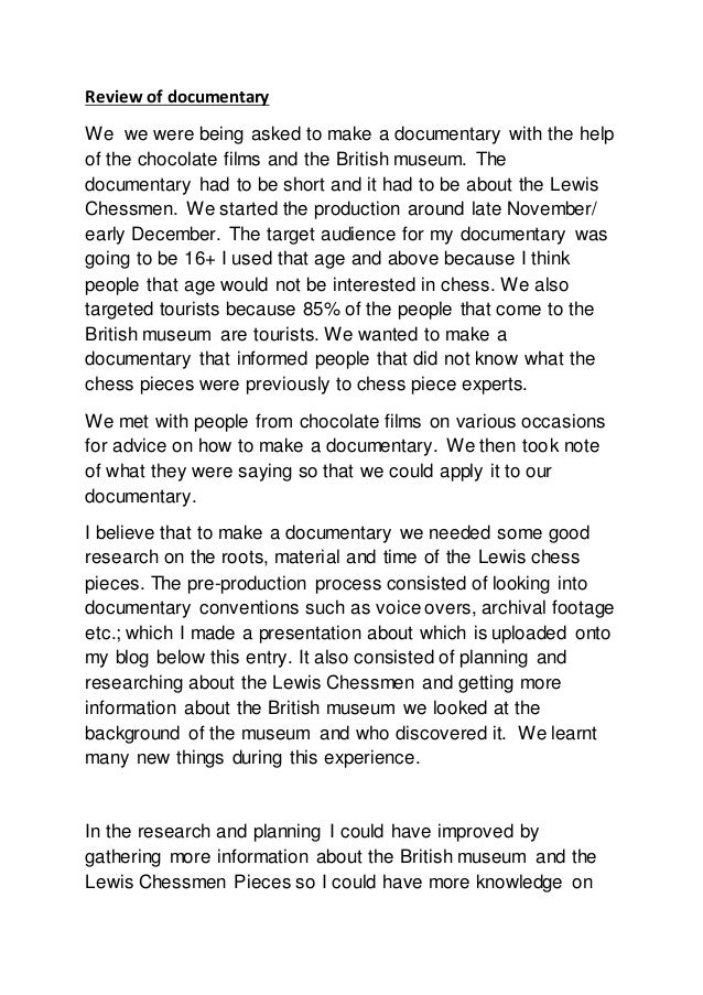 Review of documentary We we were being asked to make a documentary with the help of the chocolate films and the British mu...