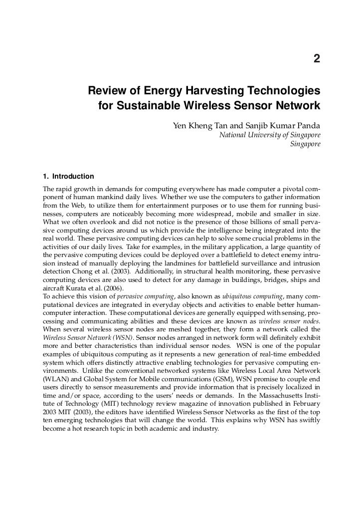 Review Of Energy Harvesting Technologies For Sustainable Wsn